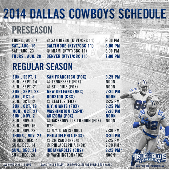 photo about Dallas Cowboys Printable Schedule identified as 2014 NFL Program Dallas Cowboys Program function