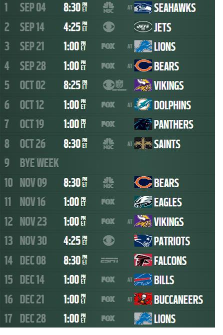 2014 NFL Schedule Packers | Schedule event