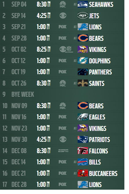 picture relating to Packers Printable Schedule named 2014 NFL Routine Packers Routine function